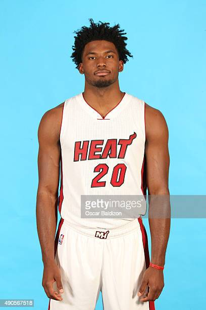 Justise Winslow of the Miami Heat poses for a portrait during the 2015 Media Day on September 28 2015 at the American Airlines Arena in Miami Florida...