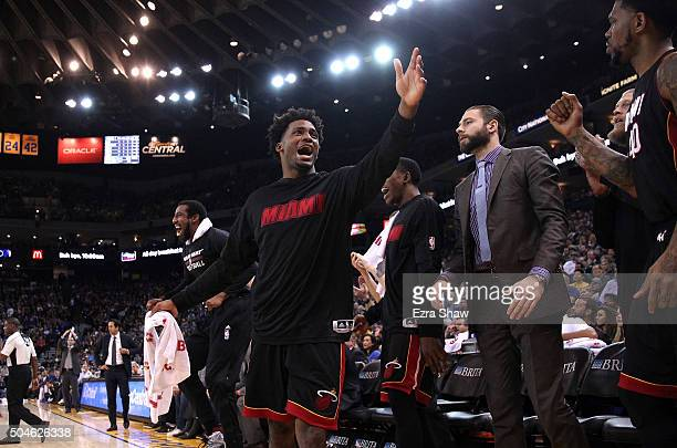 Justise Winslow of the Miami Heat reacts after the Heat made a basket against the Golden State Warriors at ORACLE Arena on January 11 2016 in Oakland...