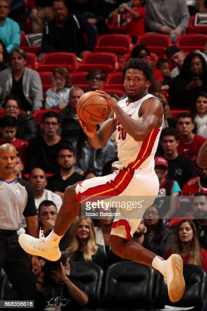 Justise Winslow of the Miami Heat rebounds the ball during the game against the Minnesota Timberwolves at the American Airlines Arena on October 30...