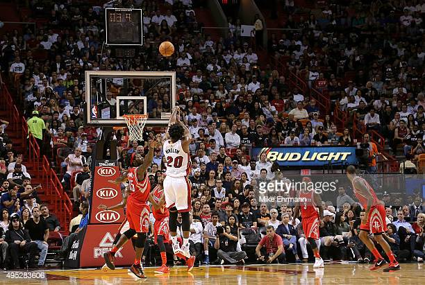 Justise Winslow of the Miami Heat shoots a jumps shot during a game against the Houston Rockets at American Airlines Arena on November 1 2015 in...