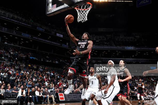 Justise Winslow of the Miami Heat shoots a lay up during the game against the Brooklyn Nets during a preseason game on October 5 2017 at Barclays...