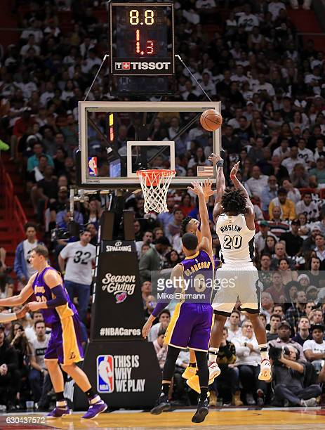Justise Winslow of the Miami Heat shoots during a game against the Los Angeles Lakers at American Airlines Arena on December 22 2016 in Miami Florida...