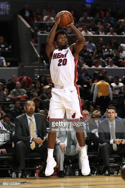 Justise Winslow of the Miami Heat shoots the ball against the Brooklyn Nets as part of the NBA Mexico Games 2017 on December 9 2017 at the Arena...