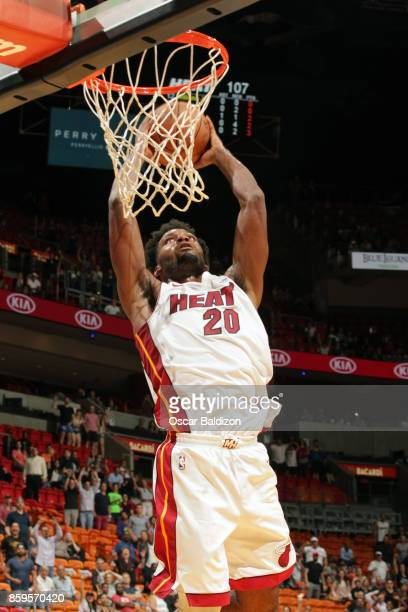 Justise Winslow of the Miami Heat shoots the ball against the Charlotte Hornets during the preseason game on October 9 2017 at American Airlines...
