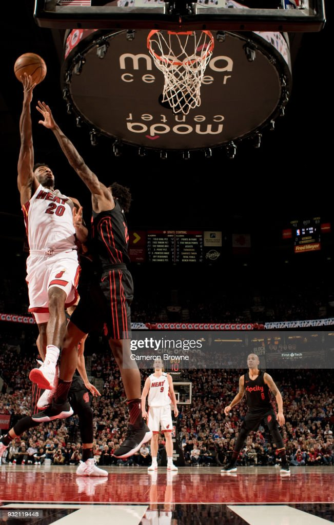 Justise Winslow #20 of the Miami Heat shoots the ball against the Portland Trail Blazers on March 12, 2018 at the Moda Center Arena in Portland, Oregon.