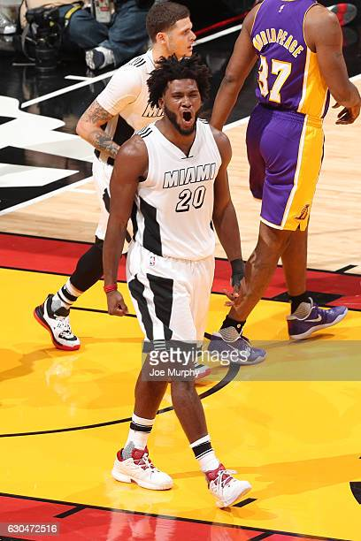 Justise Winslow of the Miami Heat shows emotion during the game against the Los Angeles Lakers on December 22 2016 at American Airlines Arena in...