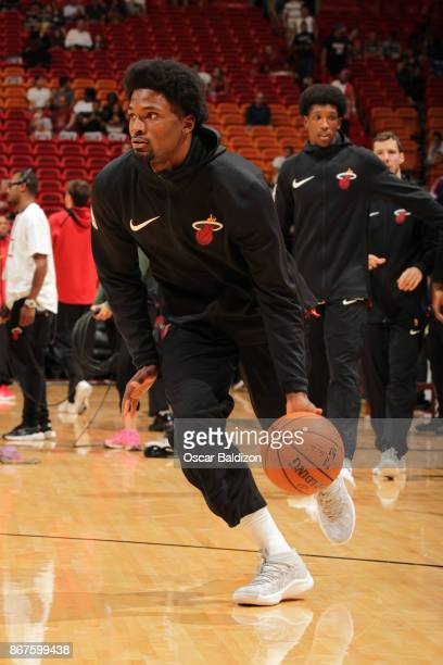 Justise Winslow of the Miami Heat warms up before the game against the Atlanta Hawks on October 23 2017 at American Airlines Arena in Miami Florida...