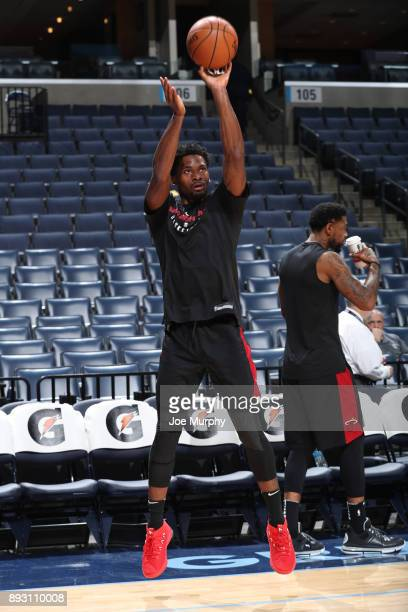 Justise Winslow of the Miami Heat warms up before the game against the Memphis Grizzlies on December 11 2017 at FedExForum in Memphis Tennessee NOTE...