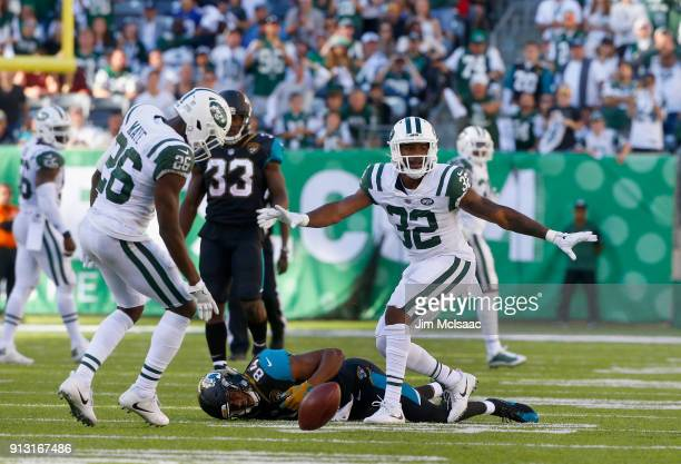 Juston Burris of the New York Jets in action against the Jacksonville Jaguars on October 1 2017 at MetLife Stadium in East Rutherford New Jersey The...