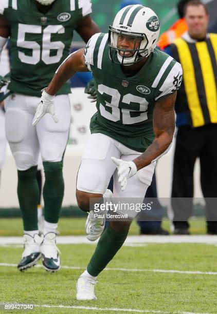 Juston Burris of the New York Jets runs on the field in an NFL football game against the Los Angeles Chargers on December 24 2017 at MetLife Stadium...