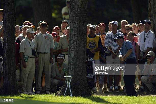 Juston Leonard hits out of the rough on the 12th fairway during the final round on August 18, 2002 for the PGA Championship at Hazeltine National...