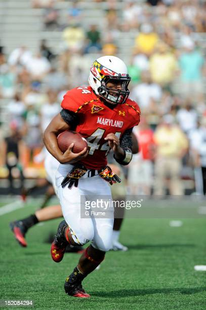 Justus Pickett of the Maryland Terrapins rushes the ball against the William Mary Tribe at Byrd Stadium on September 1 2012 in College Park Maryland