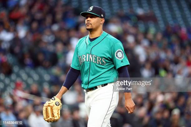 Justus Sheffield exits the mound after completing the second inning during his Mariners debut against the Texas Rangers during their game at TMobile...