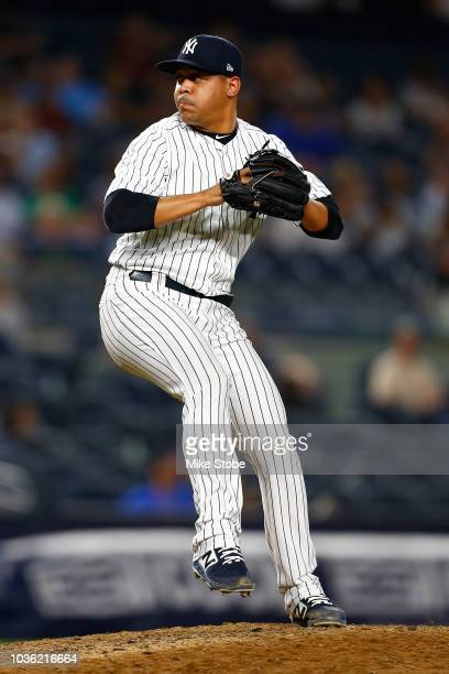 Justus Sheffield of the New York Yankees in his MLB debut pitches in the ninth inning against the Boston Red Sox at Yankee Stadium on September 19...