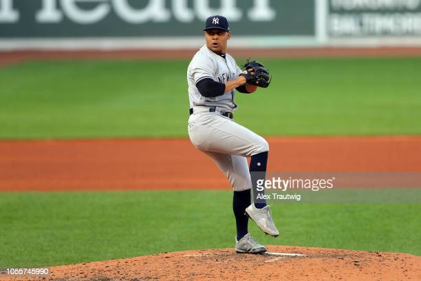 Justus Sheffield of the New York Yankees pitches during the game against the Boston Red Sox at Fenway Park on Sunday September 30 2018 in Boston...