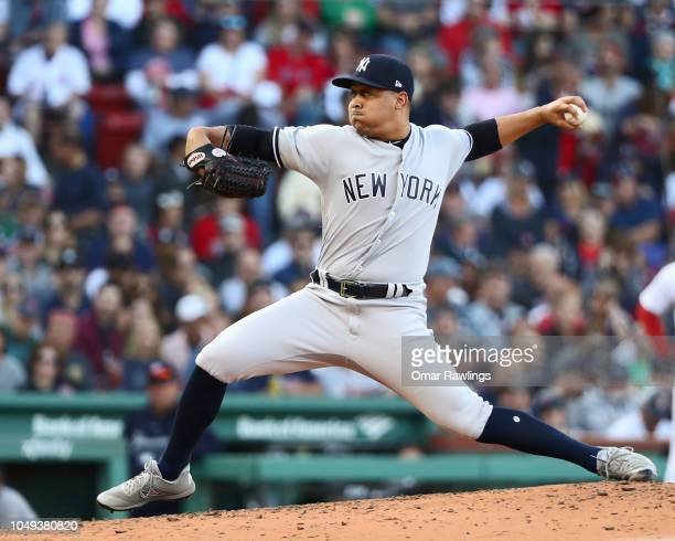 Justus Sheffield of the New York Yankees pitches in the bottom of the fourth inning of the game against the Boston Red Sox at Fenway Park on...
