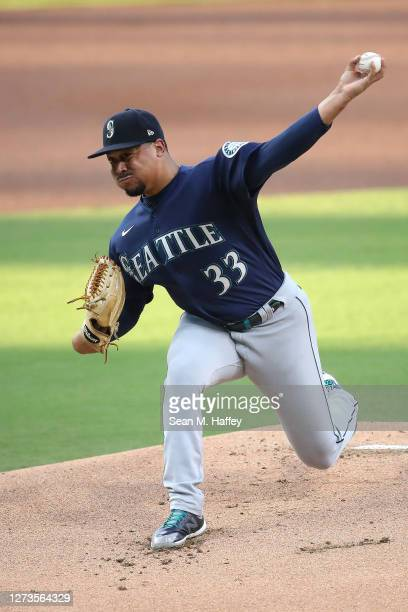 Justus Sheffield of the Seattle Mariners pitches during the first inning of a game against the San Diego Padres at PETCO Park on September 19 2020 in...