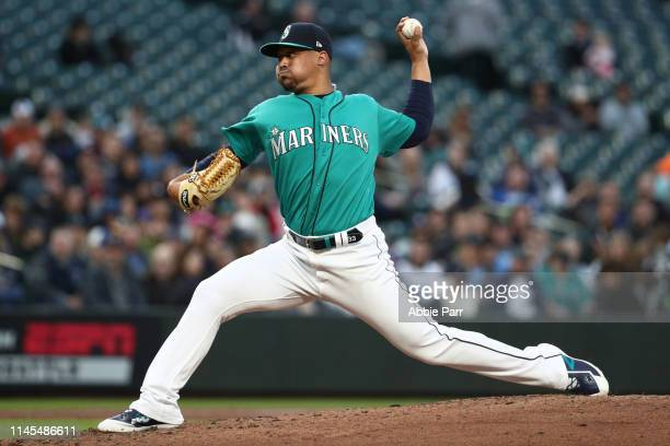 Justus Sheffield of the Seattle Mariners pitches in the second inning during his Mariners debut against the Texas Rangers during their game at...