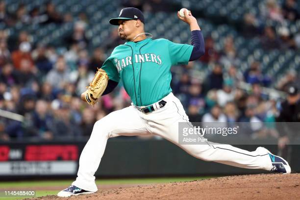 Justus Sheffield of the Seattle Mariners pitches in the third inning during his Mariners debut against the Texas Rangers during their game at TMobile...