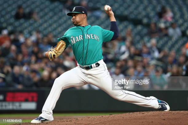 Justus Sheffield pitches in the second inning during his Mariners debut against the Texas Rangers during their game at TMobile Park on April 26 2019...