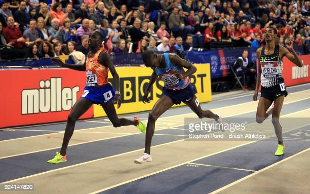 Justus Soget of Kenya wins ahead of Paul Chelimo of USA in the mens 3000m final during the Muller Indoor Grand Prix event on the IAAF World Indoor...