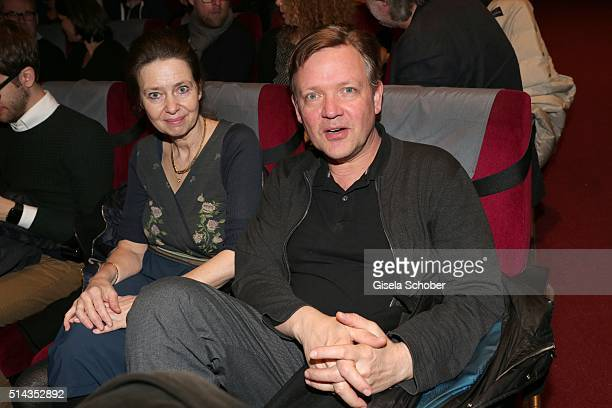 Justus von Dohnanyi and his wife Maxi during the Munich premiere of the film 'Gruesse aus Fukushima' at City Kino on March 8 2016 in Munich Germany