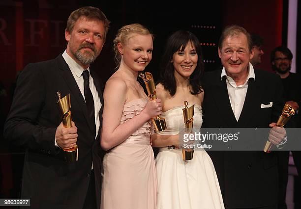 Justus von Dohnanyi Maria Victoria Dragus Sibel Kekilli and Burghart Klaussner pose the Lola award after the German film award Gala at...