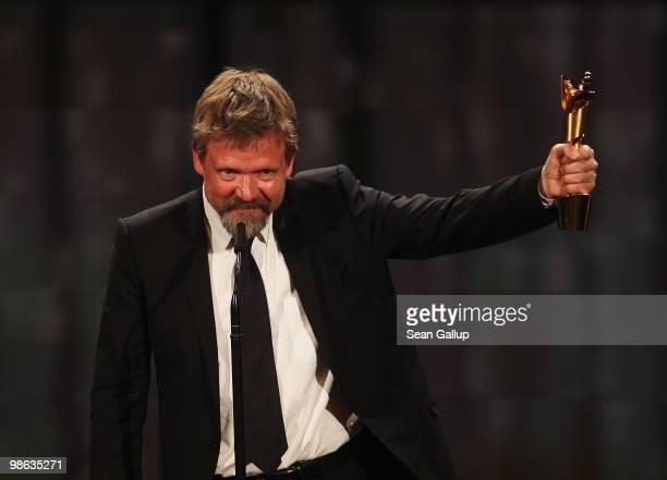 Justus von Dohnanyi recieves his Lola award during the German film award Gala at Friedrichstadtpalast on April 23 2010 in Berlin Germany