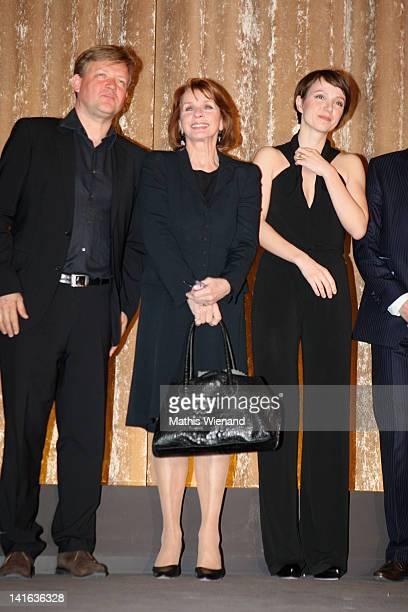 Justus von Dohnanyi Senta Berger and Julia Koschitz attend the 'Ruhm' Germany Film Premiere at 'Residenz eine astor Film Lounge' on March 20 2012 in...