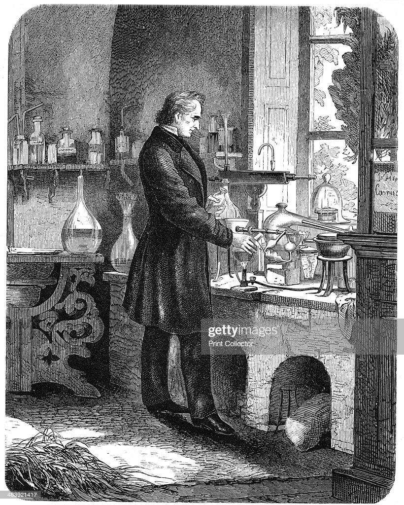Justus von Liebig, German chemist, at work in his laboratory, mid 19th century (c1885). : Foto jornalística