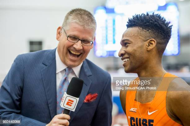 Justyn Knight of Syracuse University is interviewed by ESPN commentator after winning the Mens 500 Meter Race during the Division I Men's and Women's...
