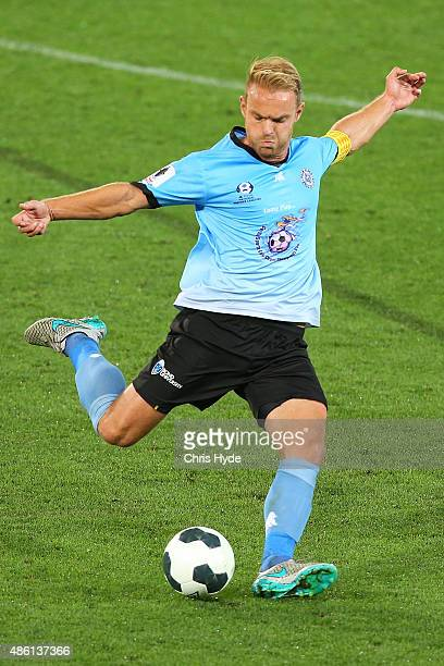 Justyn McKay of the Sharks kicks during the FFA Cup Round of 16 match between Palm Beach Sharks and Western Sydney Wanderers at Cbus Super Stadium on...