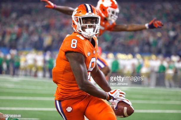 Justyn Ross of the Clemson Tigers celebrates after a 42 yard touchdown catch in the second quarter against the Notre Dame Fighting Irish during the...