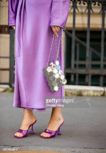 Justyna Czerniak is seen wearing pink dress,Paco Rabanne bag outside Zuhair Murad on July 07, 2021 in Paris, France.