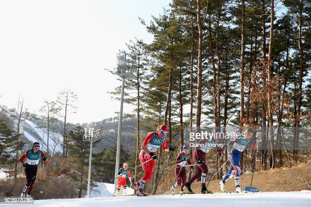 Justyna Kowalczyk of Poland Anastasia Sedova of Olympic Athlete from Russia and Sadie Bjornsen of the United States compete during the Ladies' 30km...
