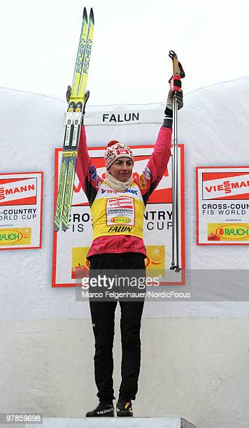 Justyna Kowalczyk of Poland celebrates after the women's 25 km Cross Country Skiing during the FIS World Cup on March 19 2010 in Falun Sweden