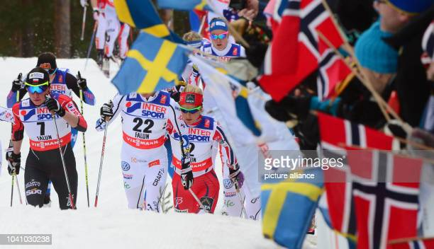 Justyna Kowalczyk of Poland Sofia Bleckur of Sweden and Therese Johaug of Norway in action during the cross country women's 30 km Mass Start...
