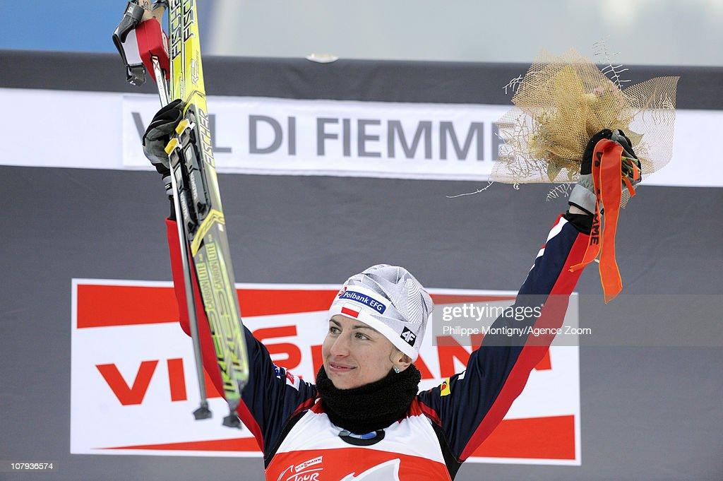 Justyna Kowalczyk of Poland takes 1st place during the FIS Cross-Country World Cup Tour de Ski Women's 10 km on January 8, 2011 in Val di Fiemme, Italy.