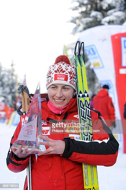Justyna Kowalczyk of Poland takes 1st place during the Women's 9km Freestyle event of the FIS Tour De Ski on January 10 2010 in Val di Fiemme Italy