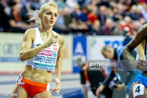 Justyna POL competing in the 400m Women Final event during day TWO of the European Athletics Indoor Championships 2019 at Emirates Arena in Glasgow...