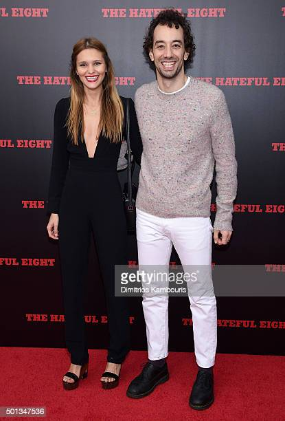 Justyna Sroka and Musician Albert Hammond Jr attend the New York premiere of 'The Hateful Eight' on December 14 2015 in New York City