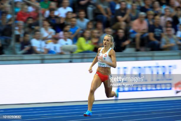 Justyna Swiety Ersetic of Poland competes in the Women's 400m final during the 2018 European Athletics Championships in Berlin Germany on August 11...