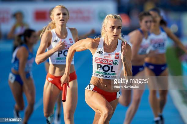 Justyna Swiety-Ersetic from Poland competes in women's 4x400 meters relay while European Athletics Team Championships Super League Bydgoszcz 2019 -...