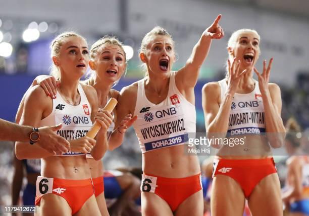 Justyna Święty-Ersetic, Małgorzata Hołub-Kowalik, Patrycja Wyciszkiewicz and Iga Baumgart-Witan of Poland celebrate winning silver in the Women's...