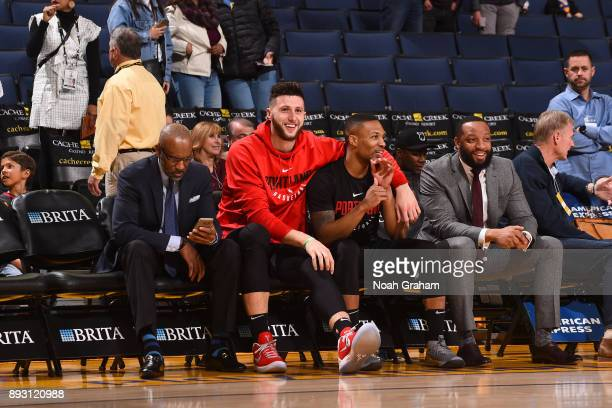 Jusuf Nurkic and Damian Lillard of the Portland Trail Blazers before the game against the Golden State Warriors on December 11 2017 at ORACLE Arena...