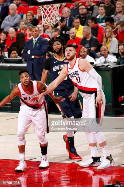 Jusuf Nurkic and Evan Turner of the Portland Trail Blazers box out against the New Orleans Pelicans in Game Two of Round One of the 2018 NBA Playoffs...