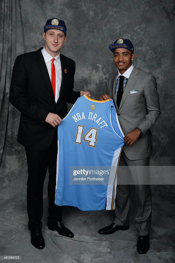 Jusuf Nurkic and Gary Harris, both aquired via trade by the Denver Nuggets, pose for a portrait during the 2014 NBA Draft at the Barclays Center on June 26, 2014 in the Brooklyn borough of New York City.