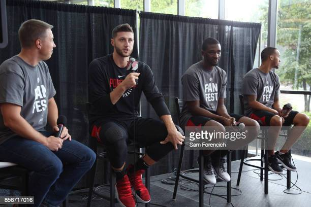 Jusuf Nurkic and Noah Vonleh of the Portland Trail Blazers with their teammates participates in the team's annual Fan Fest event October 1 2017 at...