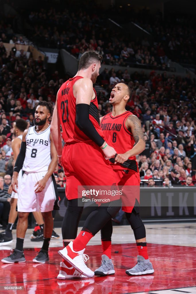 Jusuf Nurkic #27 and Shabazz Napier #6 of the Portland Trail Blazers react during the game against the San Antonio Spurs on January 7, 2018 at the Moda Center Arena in Portland, Oregon.