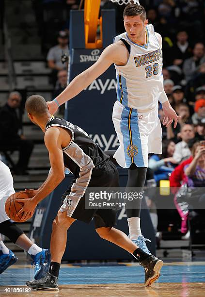 Jusuf Nurkic of the Denver Nuggets defends against Tony Parker of the San Antonio Spurs at Pepsi Center on January 20 2015 in Denver Colorado NOTE TO...